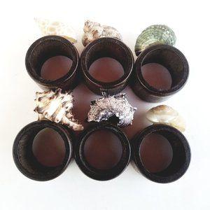 Set of 6 Seashell Beach Wooden Napkin Ring Holders